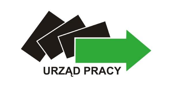 Logo urzedu pracy przedstawiające trzy czane prostokąty i zieloną strzałkę.