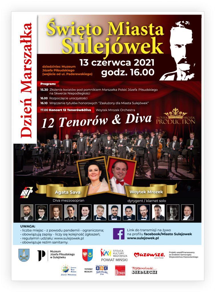 Duży napis-Święto Miasta Sulejówek pod nim data 13 czerwca 2021r. godz. 16.00, z lewej strony pionowy napis: DZIEŃ MARSZAŁKA. W tlr artyści tenorzy na scenie.