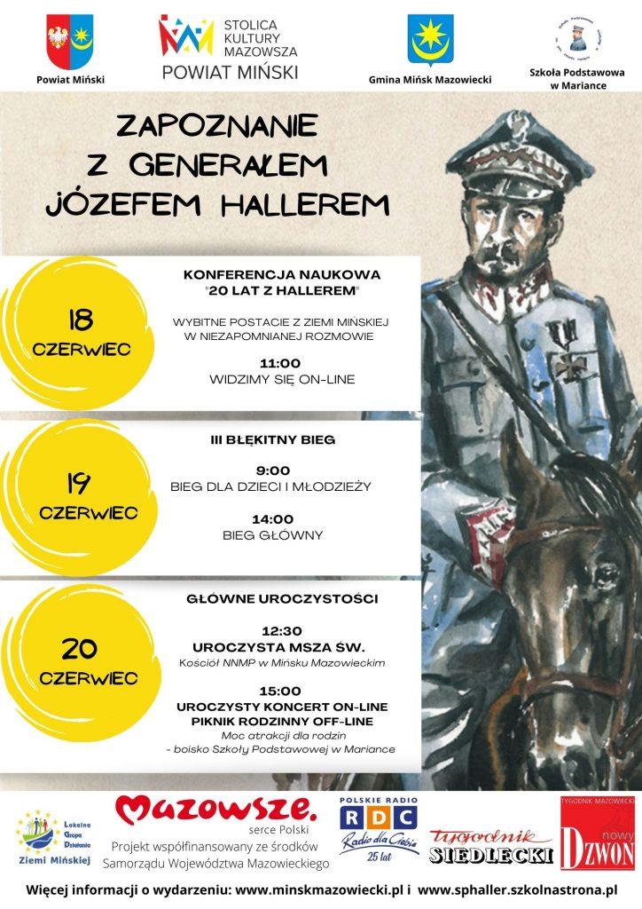 Widoczne hasło - duże czarne litery - Zapoznanie z gen. Józefem Hallerem. na górze i na dole strony logotypy. Na pierwszym planie żołnierz na koniu