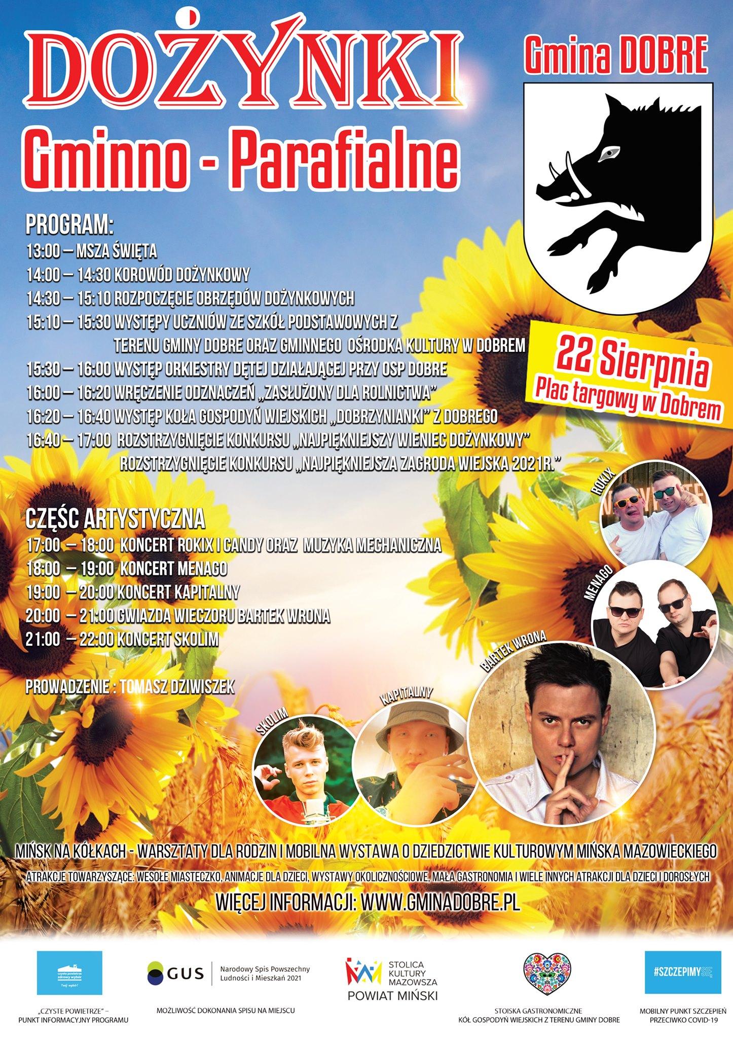 plakat przedstawiający program dożynek i artystów na nich występujących. W tle słoneczniki.
