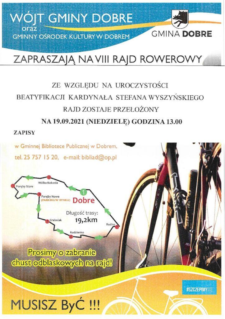 Duży napis VIII Rajd Rowerowy Z lewej strony mapa trasy, z prawej rower