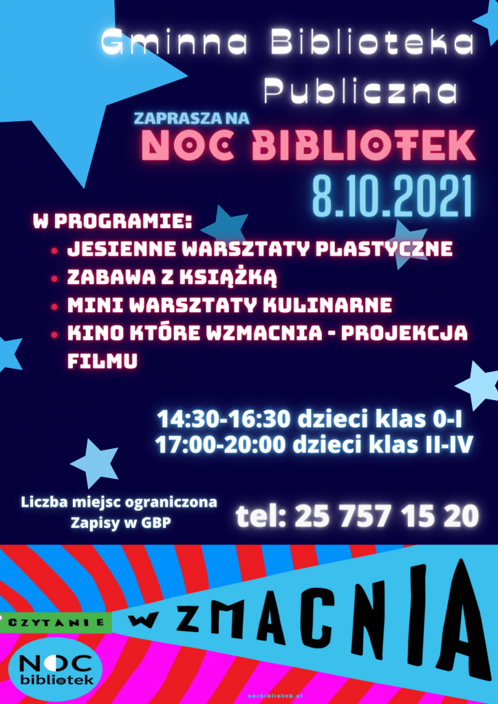 kolorowy plakat promujacy noc bibliotek która obedzie sie 8 października 2021 roku.