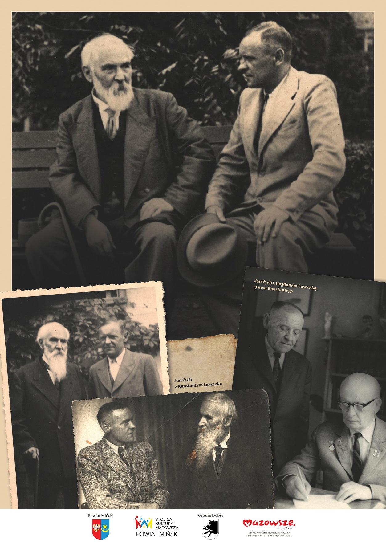 Biało - czarne fotografie przedstawiające mężczyznę z białą brodą oraz z młodszych mężczyzną